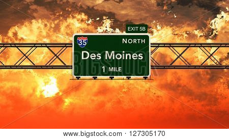 Des Moines Usa Interstate Highway Sign In A Beautiful Cloudy Sunset Sunrise