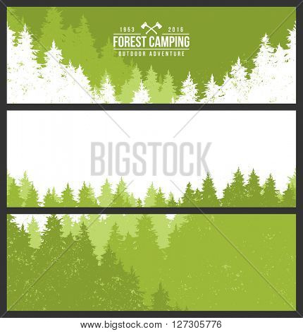 Vector flat illustrations - Abstract forest. Wildlife. Forest view. Forest trail, camping