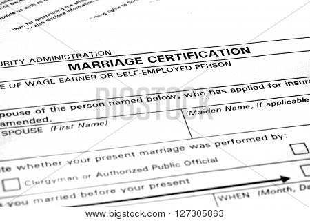 Marriage certification form application to be married legally