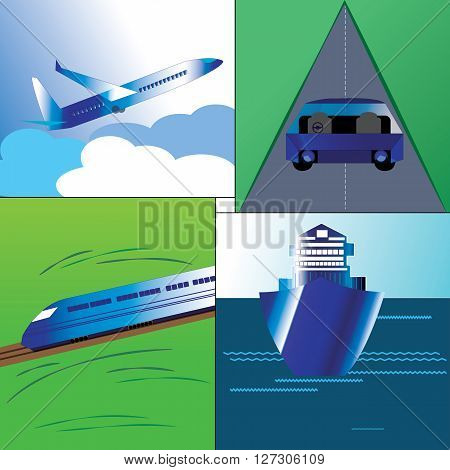 Illustration of Major mode of transport in the world.Airways,Rail,four wheeler in a Roadway and sailing Ship.