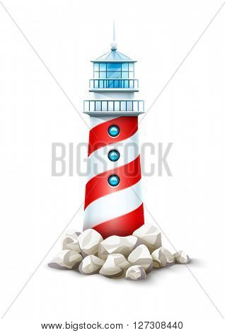 Lighthouse tower at stone rocks hill vector illustration. Beacon on seashore bank. Icon isolated white background