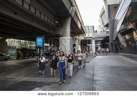 BANGKOK THAILAND - mar 5 : unidentified thai people at siam square near BTS siam station on march 5 2016 thailand. Siam square is famous shopping place of Bangkok