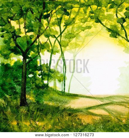 watercolor abstract background with trees and green folliage