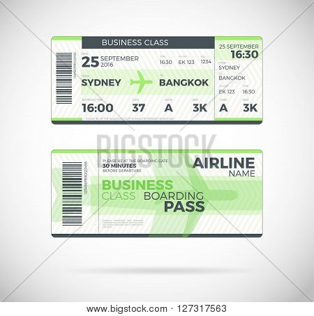 Airline boarding pass Business Class ticket template. Vector Plane ticket illustration. Ticket Pass Card modern element vector design template