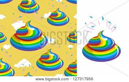Shit Unicorn pattern. Turd rainbow colors. Kal rainbow fantastic beast. Stools are mythical creatures background