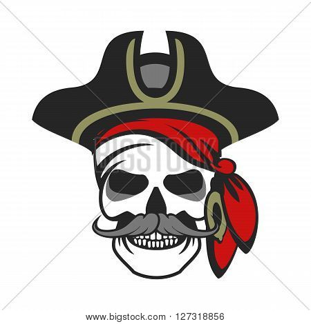 vector skull emblem sea pirate on a background of the wheel