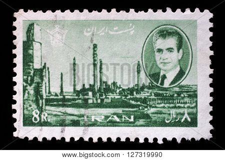 ZAGREB, CROATIA - SEPTEMBER 18: A stamp printed in Iran shows Shah Mohammad Reza Pahlavi, ruins of Persepolis, capital of ancient Persia, 1966, on September 18, 2014, Zagreb, Croatia