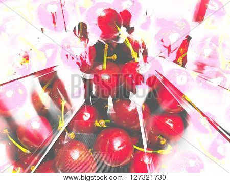 Abstract Background Cherry And Girls Collage