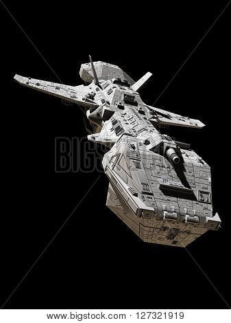 Science fiction illustration of an interplanetary gunship, isolated on black, front view, 3d digitally rendered illustration