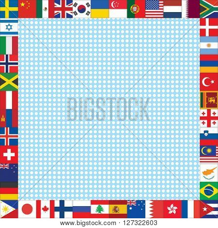 blue with white dots background with world flags frame