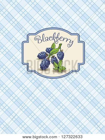 A sticker of the blackberry with branch and leaves on the checkered  background.  It is a menu.