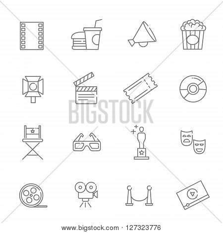 Entertainment icons, movie production line vector icons