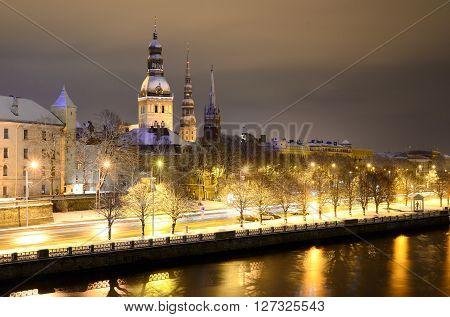 Night Winter Scene In Riga, Latvia
