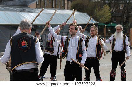 Greenwich, London, Uk - March 13Th: Blackheath Morris Men Dancers Demonstrate Old English Folk Danci