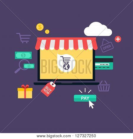 Concept Online Shopping And E-commerce. Icons For Mobile Marketing. Hand Holding Smart Phone.  Flat
