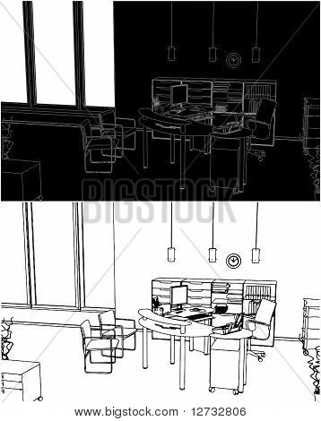 Interior Office Room Vector 0...
