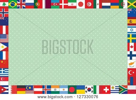 green polka dot background with flags frame vector illustration