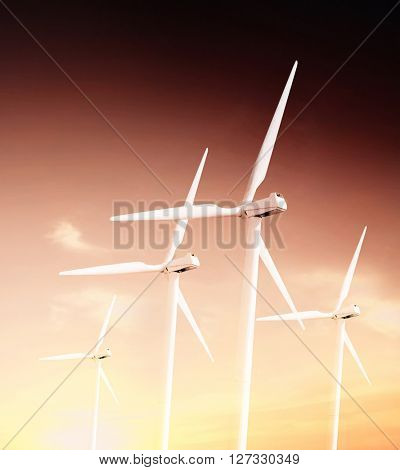 Windturbines in the Sunset