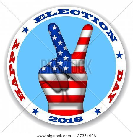 Happy election day sticker with a victory symbol and American flag on human hand. V shape hand with USA flag. Vector illustration