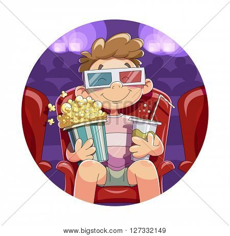 Boy with popcorn and drink in cinema watch film vector illustration. Isolated white background. Man movie cinema. 3D glasses. Beverage Cinematograph. illustration