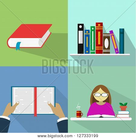 Set of books in flat desig. Four vector illustration for theme of study, learning school.