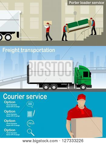 Transportation and delivery company illustration. Two workers mover man holding and carrying sofa, small freight, Courier service, Color vector creative conceptflat icons