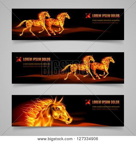 Set of banners with horses in orange flame