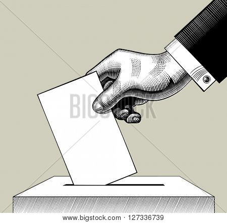 Hand putting voting paper in the ballot box. Vintage engraving stylized drawing