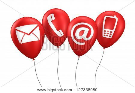 Website and Internet contact us concept with icons and symbol on red balloons 3D illustration isolated on white background.