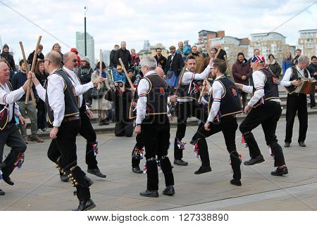 Greenwich, London, Uk - March 13Th: Blackheath Morris Men Dancers Demonstrate Old English Folk Danci