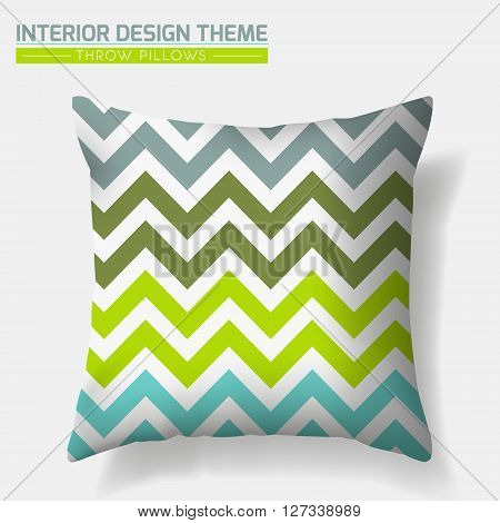 Decorative Zigzag Throw Pillow design template. Original pattern in eco style is complete masked. Modern interior design element. Creative Sofa Toss Pillow. Vector design is layered editable