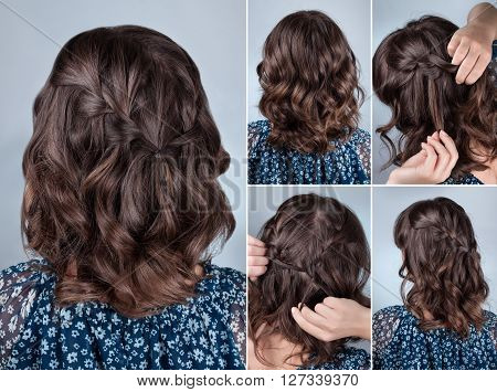 Hairstyle plait cascade for middle hair. Hairstyle for self. Caucasian woman brunette hair model