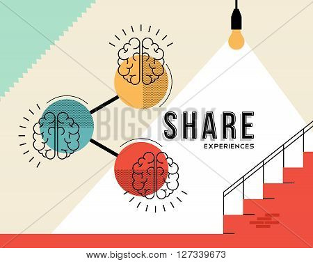 Share experiences concept design of human brains with retro elements in modern line art style. EPS10 vector.