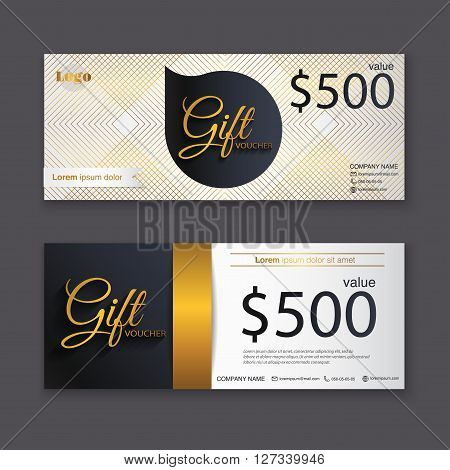 Gift Voucher Template With Gold Pattern, Gift Certificate. Background Design Gift Coupon, Voucher, C