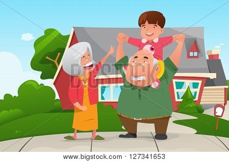 A vector illustration of happy grandparents playing with their grandson