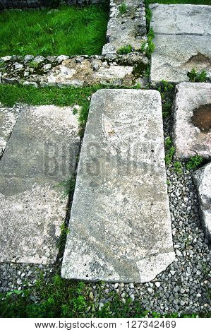 Gravestone in archaeological monuments of Kotor, Montenegro