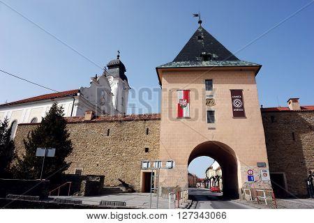 Levoca PRESOV SLOVAKIA - APRIL 03 2016: Old town gate in historical center of Levoca Slovakia.