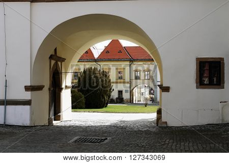 Levoca PRESOV SLOVAKIA - APRIL 03 2016: View from the old town arch in historical center of Levoca Slovakia.