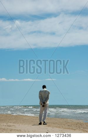 Person,Empty Beach And Ocean