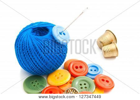 Colored Buttons, Thimbles And Thread