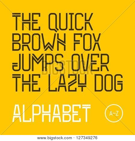 The quick brown fox jumps over the lazy dog.  Modern font, 26 latin alphabet letters. Vector.