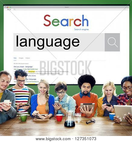 Team Using Technology Browsing Search Concept poster