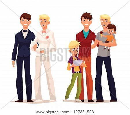 concept of gay love, vector cartoon art lovers to wedding of two man, the concept of a family of boy gay, men are a family with a small child happy loving homosexual couple