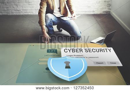Cyber Security Firewall Privacy Concept poster