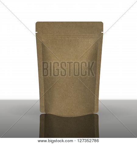Mockup Foil Food Bag Package Of Coffee, Tea, Salt, Sugar, Pepper, Spices Or Flour, Filled, Folded, . Plastic Pack Template for your design and branding.