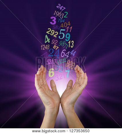 Female numerologist with cupped hands reaching up towards a flow of multicolored numbers, with a burst of magenta light behind on a dark purple background poster