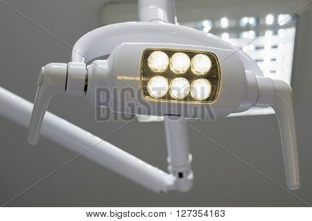 Glowing White Medical Shadowless Lamp With Yellow Light Background