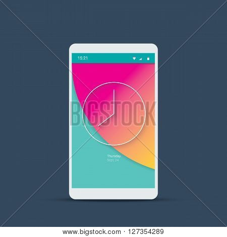 Mobile user interface login screen with analog clock symbol. Smartphone icons for account and password with material design vector background in pink color. Eps10 vector illustration.