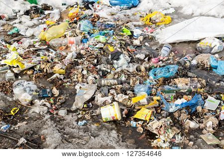 Piles Of Household Domestic Rubbish