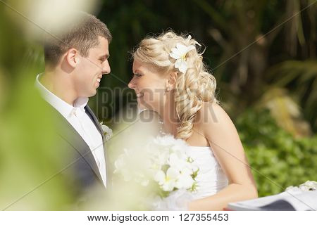 Beautiful, Gorgeous Wedding Couple During Ceremony On The Beach.
